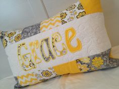 Yellow and Grey Girl's personalized name pillow by LulasLuvables, $40.00 (LATER) You Are My Sunshine, Guest Room, Bed Pillows, Pillow Cases, Nursery, Yellow, Unique Jewelry, Handmade Gifts, Grey