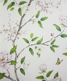 I just love it, it doesn't make sense. Romey's Garden Wallpaper A floral wallpaper featuring a trail of flowering peony branches in pink blossom, green and taupe on a cream background.