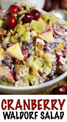 Cranberry Waldorf Salad has crisp apples, juicy grapes and tart cranberries in a sweet yogurt dressing. This is the perfect salad or turkey dinner side dish! Thanks to Spend With Pennies Cranberry Salad, Cranberry Recipes, Fruit Recipes, Salad Recipes, Cooking Recipes, Healthy Recipes, Picnic Recipes, Thanksgiving Recipes, Dining