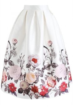 Full Blooming Flowers Printed A-Line Midi Skirt - NEW ARRIVALS - Retro, Indie and Unique Fashion