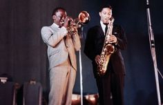 Miles Davis & Sonny Rollins, New York Jazz Festival, August 23, 1957. Photo by Bob Parent