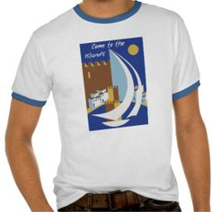 own work - Come to the Islands ! Retro vintage Greek Islands travel advertising Tee Shirts