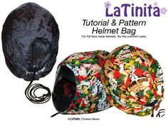 Helmet Bag Sewing Pattern and Tutorial in eBook Format – Sew and Sell! Bag Patterns To Sew, Pdf Sewing Patterns, Free Sewing, Crochet Patterns, Sewing Hacks, Sewing Tutorials, Sewing Crafts, Sewing Projects, Diy Projects