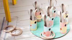 Spiele für Ostern mit Kindern basteln: Hasenfangen – WLKMNDYS Cardboard Tubes, Happy Monday, Happy Easter, Diy Crafts, Seasons, Spring, Party, Kids, Inspiration