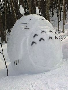 There were a good deal of Totoros: | 25 Snow Sculptures From Tokyo's Biggest Blizzard In Decades