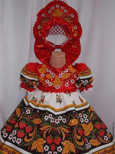 Купить Платье ХОХЛОМА №4 - ярко-красный, хохлома, хохломская роспись, русский сувенир