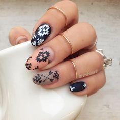 Aztec Nail Designs, Black Nail Designs, Gel Nail Designs, Western Nail Art, Rodeo Nails, Gel Nails, Acrylic Nails, Marble Nails, Jamberry Nails