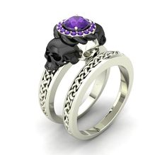 Skull Engagement Ring Set Amethyst 10 K
