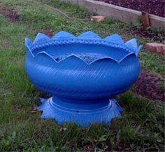vaso com pneu usado