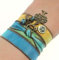 Tree of Life Silk Wrap Bracelet Yoga by BohemianEarthDesigns, $22.95