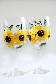 Wine glasses Yellow Sunflower Wine Glasses  by Brusheswithaview
