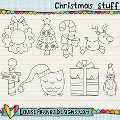 If you enjoy making your own blog designs, digiscrapping kits and other crafts, I think you're going to like these Christmas themed doodles. Commercial Use options are available; just colour and go!