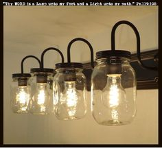 "FOUR bulbs of LIGHT all at 60 watts for cool Mason Jar Lighting Fixtures! * 30"" Wide x 4.75"" High Backer Plate * (4) Clear Heavy Quart Mason Jars * Projects 9"" out from the wall x 10"" Overall height *"