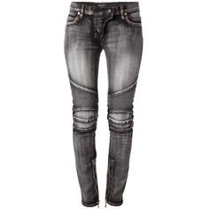 BALMAIN 'Acid Biker' jean ($780) ❤ liked on Polyvore featuring jeans, pants, bottoms, calças, biker jeans, black acid wash jeans, black skinny leg jeans, black super skinny jeans and black jeans