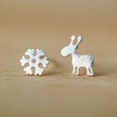 Flyleaf 925 Sterling Silver Kolczyki Dla Kobiet Christmas Snowflake Deer Stadniny Kolczyki W Stylu Dziewczyny Biżuteria Prezent