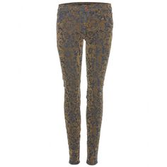 mytheresa.com - J Brand - GOLD BROCAD SKINNY JEANS - Luxury Fashion for Women / Designer clothing, shoes, bags