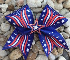 VERY PATRIOTIC CHEER BOW FEATURING RED WHITE BLUE AND BLING