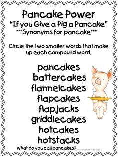 """1st Grade - Compound word Lesson using """"If you give a pig a pancake"""""""