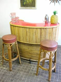 1950s Bamboo Ratan and Formica Luau Cocktail Bar | eBay