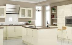 Hallmark Kitchen Designs are a local company based in Poole, Dorset. We supply quality designer kitchens, at irresistible prices. Cream Kitchen Units, Cream Gloss Kitchen, Kitchen Slab, Ivory Kitchen, Kitchen Stove, Kitchen Paint, Home Decor Kitchen, Kitchen Design, Kitchen Ideas