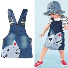 Summer-Cute-Cat-Baby-Kids-Girls-Toddler-Denim-Jeans-Overalls-Dress-Skirt-Clothes