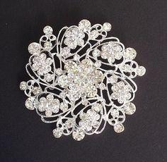 Vintage style Sparkling Clear Crystal Flower Brooch Pin Rhinestones Silver Plated Embellishment  Broach DIY Wedding Bridal Bouquet Sash. $8.50, via Etsy.