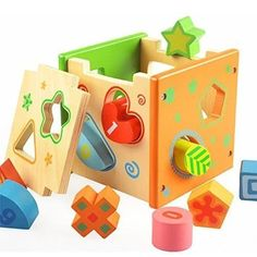 1 Set Kids Wooden Colorful Intelligence Learning Box Toys Children Classic Educational Geometric Shape Matching Building BlocksNice Christmas Birthday Gift For 1 Year Baby Kid Learning Skills