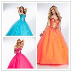 2014 A-line Sweetheart Sleeveless Floor Length Tulle Satin Orange Blue Squins Crystals Long Women Evening Prom Dresses Prom Gown(http://www.globebuy.com/i/106676.jhtml)