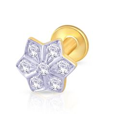 A gold nose stud with lot of swag and edgy-ness.,Gold & Diamond Nose Stud For Girls & Women. 18K/14K Gold With Certified Diamonds. Door Delivery