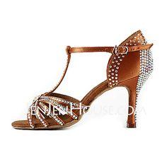 Women's Satin Heels Sandals Latin Ballroom Salsa Wedding Party With Rhinestone T-Strap Dance Shoes (053018642)