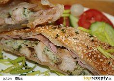 Plněné listové těsto kuřecím masem a šunkou recept - TopRecepty.cz Sandwiches, Food And Drink, Meat, Chicken, Recipes, Ripped Recipes, Paninis, Cooking Recipes