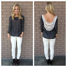 Black Knit Low Back Embroidered Top. Love the back!