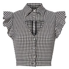 Marissa Webb Women's Denise Gingham Blouse ($298) ❤ liked on Polyvore featuring tops, blouses, flutter-sleeve top, cap sleeve crop top, crop top, triangle tops and cap sleeve blouses