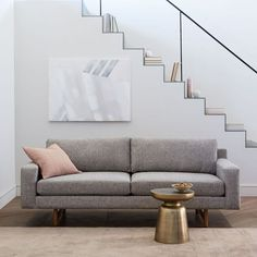 Eddy Sofa, Deco Weave, Feather Gray at West Elm - Quick Ship Sofas - Couches - Living Room Furniture 1950s Furniture, Sofa Furniture, Living Room Furniture, Antique Furniture, Furniture Stores, Furniture Ideas, Outdoor Furniture, Space Furniture, Cheap Furniture
