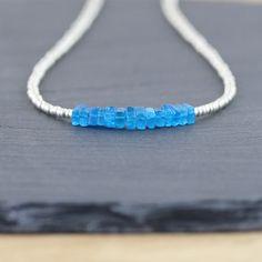 Neon Blue Apatite & Silver Miyuki Seed by EllaArtisanJewellery