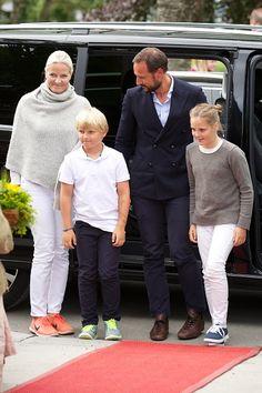 (L-R) Crown Princess Mette-Marit, Prince Sverre Magnus, Crown Prince Haakon and Princess Ingrid Alexandra of Norway Attend The Saint Olav Festival on July 24, 2015 in Stiklestad, Norway.