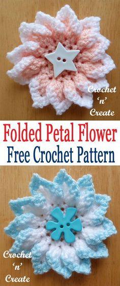 Pretty folded petal flower finished with splash of colour, free crochet pattern from #crochetncreate #freecrochetpatterns #crochetflower