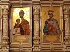 The place of the Romanovs' execution in Ekaterinburg~ to the left: St Martyrs Nikolay II and Alexey.To the right: St Martyr Olga, Nikolay's eldest daughter. It was Olga, who stood closely to her father from his right side,in the night the Romanovs were shot in The Ipatiev House. And Nikolay II held Alexey on his lap embracing him as it was drawn on the icon