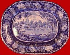 John Hall Burslem Staffordshire pottery history, blue willow transferware china