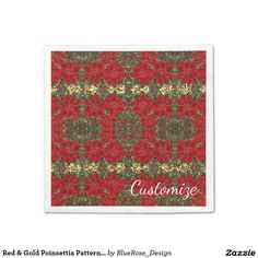 Shop Red & Gold Poinsettia Pattern Holiday Napkins created by BlueRose_Design. Cloth Napkins, Paper Napkins, Paper Plates, Raffle Prizes, Christmas Napkins, Vinyl Lettering, Holiday Outfits, Holiday Treats, Poinsettia