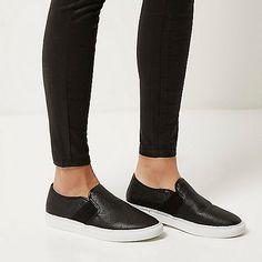Black slip on plimsolls - plimsolls / sneakers - shoes / boots - women