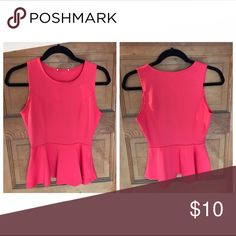 Red-ish Peplum Top ❤️ Form fitting, flare @ waist. Perfect with a white pair of shorts for a patriotic look ❤️💙🇺🇸 Tops Tank Tops