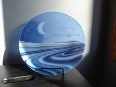 Moonlit Lake Fused Glass Plate.