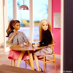 """""""Sunday morning in the new breakfast nook, one of my favorite rooms in the house! The perfect place for a pop of pink. #barbie #barbiestyle"""""""
