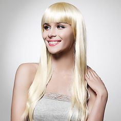 Capless Extra Long Top Grade Quality Synthetic Blonde Straight Hair Wig – EUR € 27.19