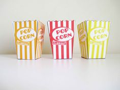 PRINTABLE Popcorn Box Template Wedding Favor, instant download, Retro Red