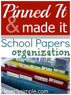 School Papers Organization.  Love this! This is a good way to store all your projects you have made in school that you want to keep!