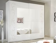 Chambre adulte blanche design ADELAIDE Mirrored Wardrobe, Bedroom Wardrobe, Dressing Table Storage, Armoire Design, Wooden Sliding Doors, Mirror Door, White Furniture, Decoration, Trendy Tree