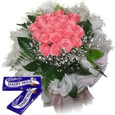 Graceful Roses  Specially Packed 20 Pink Roses Bunch and 6 Cadbury Chocolates for your Loved Ones.
