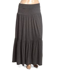 Charcoal Abstract Tiered Maxi Skirt - Plus